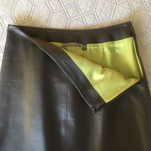 Brown leather Tahari skirt